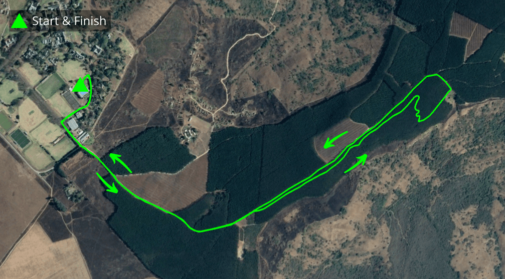 KZNTR Hilton College Feb20 - 7km Course Route (Directioned)