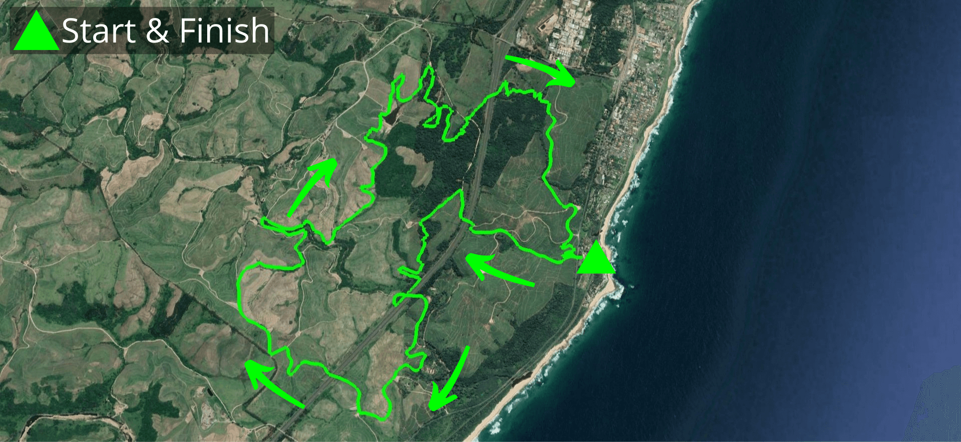 KZNTR Coastal Series Rocky Bay Oct20 - 20km Course Route (Directioned))