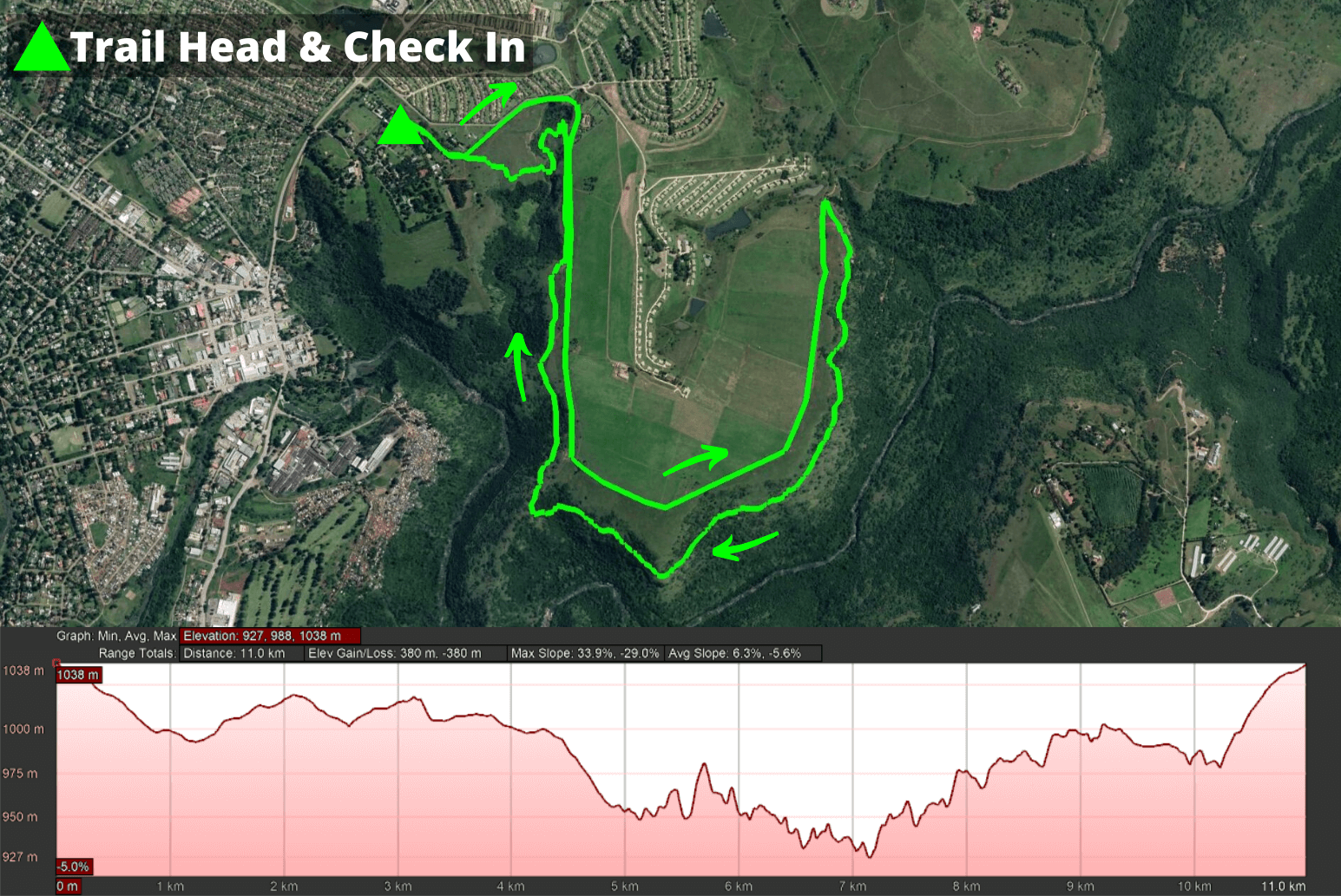 KZNTR WESSA uMngeni Trail Jun20 - 11km Course (Directioned) 2020-06-26 V1