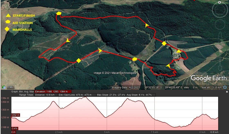 KZNTR Ingeli Mountain Marathon Jun21 - 10km Course Route 2021-06-28 V1