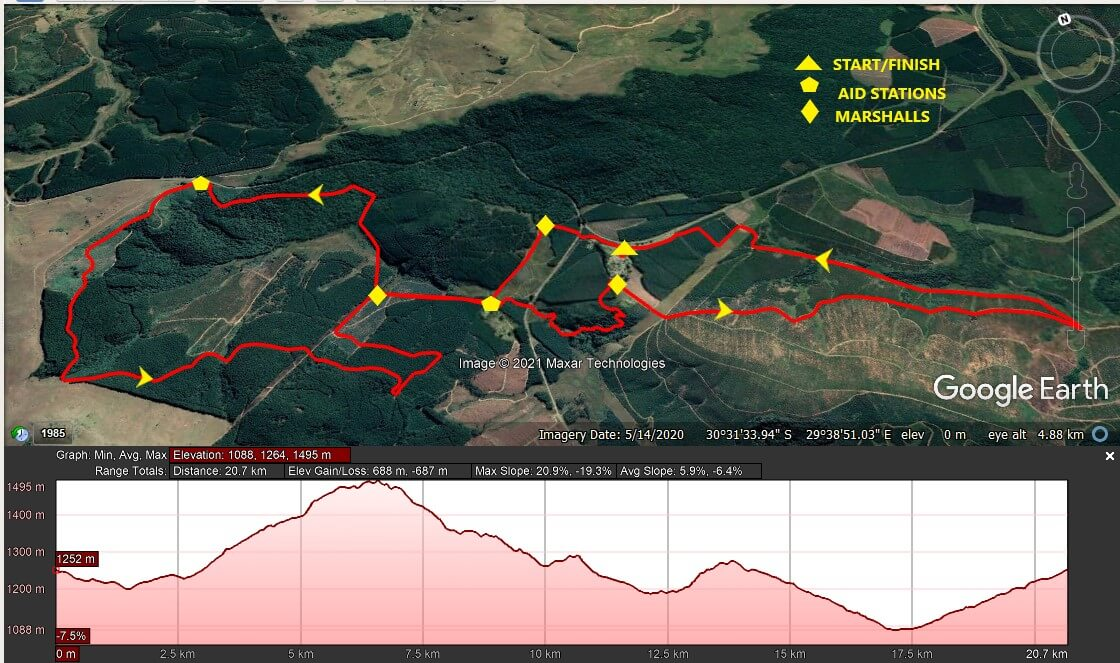KZNTR Ingeli Mountain Marathon Jun21 - 20km Course Route 2021-06-28 V1