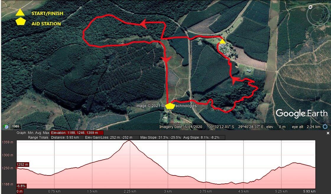 KZNTR Ingeli Mountain Marathon Jun21 - 6km Course Route 2021-06-28 V1